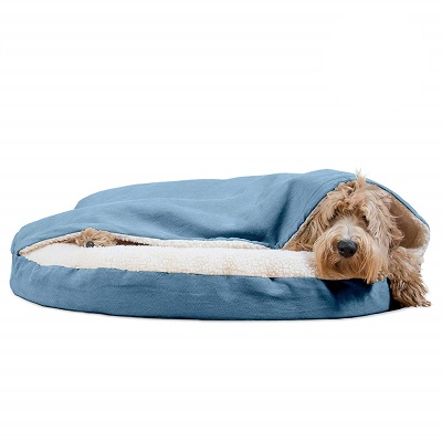 Pet Dog Bed Orthopedic Round Cuddle Nest Snuggery Burrow Blanket Pet Bed Removable Cover for Dogs & Cats
