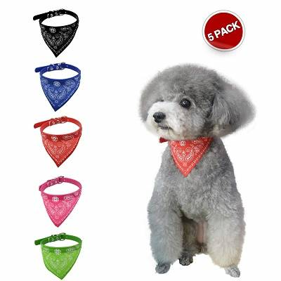 5 Pack Dog Bandana with Adjustable Buckle, Handmade Dog Collar
