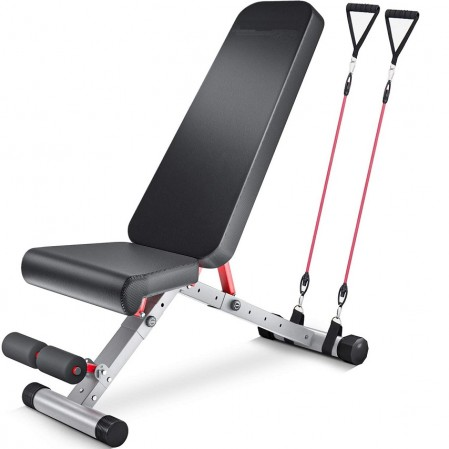 Foldable Incline Decline Gym Adjustable Weight Bench press weight lifting with resistance bands for Full Body Workout