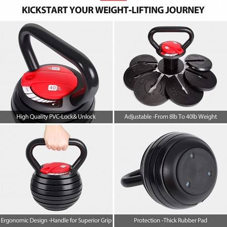 Adjustable Kettlebell Set Strength Training Exercise 10lb-40lb Kettle Ball Handle Grip Free