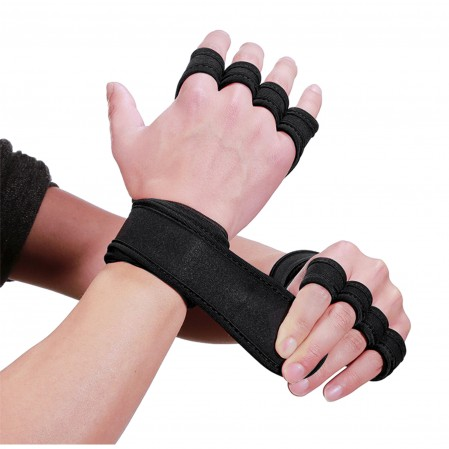 Sport Gym Fitness Workout Exercise Weight Lifting Training Gloves Ventilated with Wrist Wraps Support Full Palm Protection
