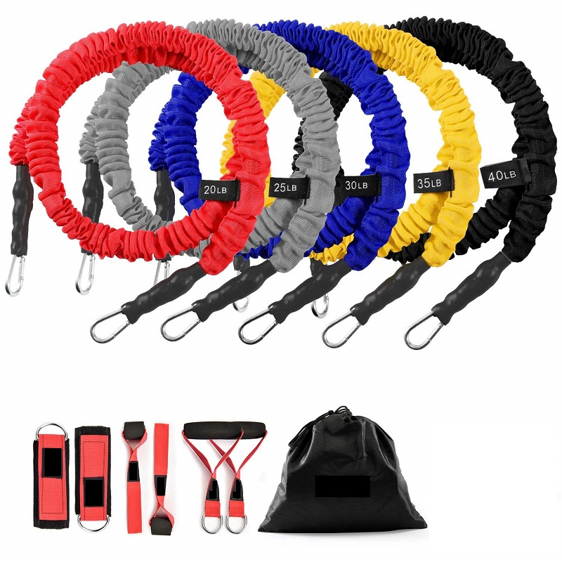 Exercise Elastic Bands Set, Resistance Tubes Heavy Duty Protective Nylon Sleeves Anti-Snap Fitness Featured Image