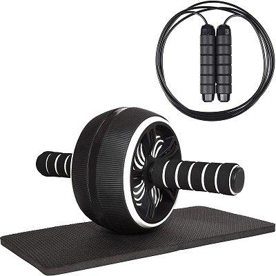 Ab Wheel Roller with Knee Mat and Jump Rope