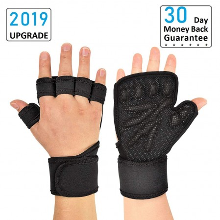 Weight Lifting Gloves with Built-In Wrist Wraps
