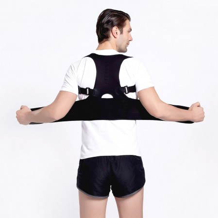 Custom Back Brace Black Skin Magnetic Posture Corrector Support Shoulder Strap Humpback Brace Belt For Cervical Lumbar Spine