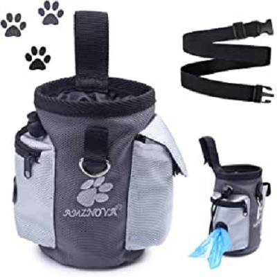 Dog Treat Bag, Dog Training Bag with Built-in Poop Bag Dispenser & Adjustable Waistband