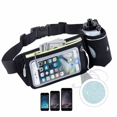 Running Belt Multifunctional Zipper Pockets Waterproof Waist Bag with Water Bottle
