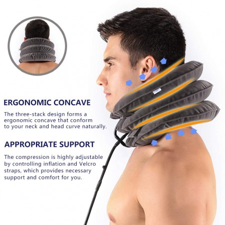 Neck Traction Device by EverRelief Inflatable & Adjustable Neck Stretcher Collar