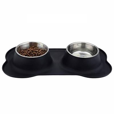Dog Bowls Stainless Steel with No Spill Non-Skid Silicone Mat