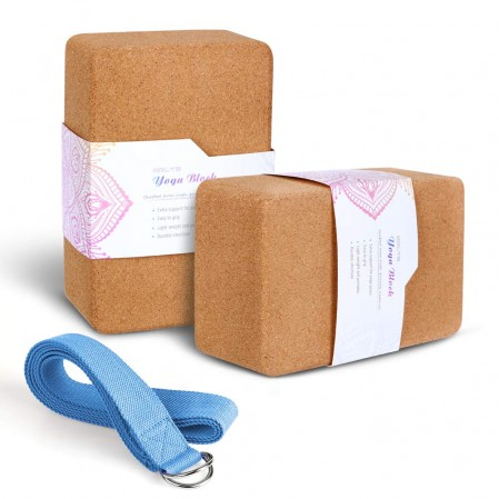 Natural cork yoga blocks with  D-Ring yoga strap Stretch Deeply and comfortable