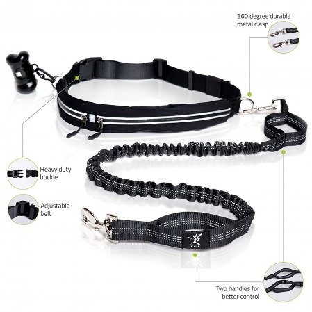 Hands Free Reflective Leash Adjustable Waist Belt
