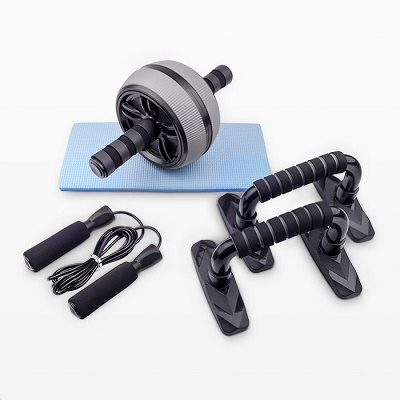 3-in- 1 AB Wheel Roller with Knee Pad kit Push Up Bars and jump rope