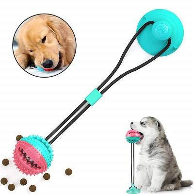 Pet Molar Bite Toy, Rubber Multifunction Dog Tug Rope Ball with Suction Cup