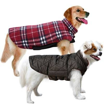 Waterproof Windproof Reversible British Style Plaid Dog Vest Winter Coat Warm Dog Apparel Cold Weather Dog Jacket