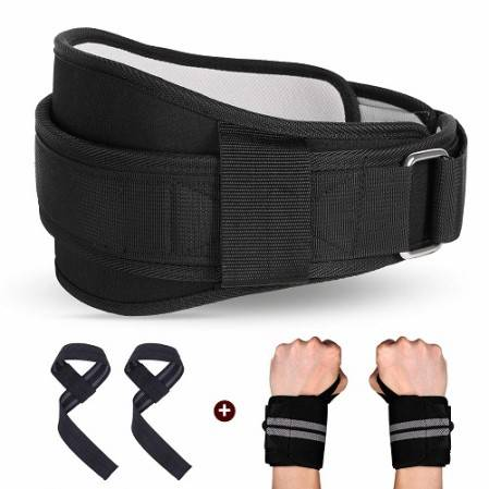 Weight Belt, Squat Belt Set with Lifting Straps and Wrist Wraps for Weightlifting