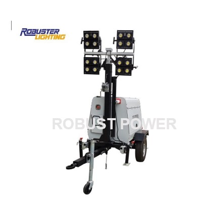 RPLT-5000 manual mobile light tower with 350w LED lamp for road construction
