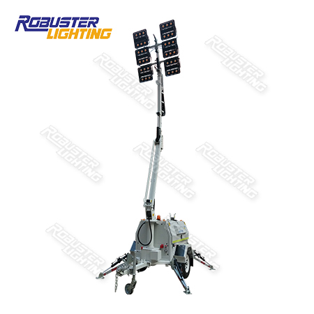 RPLT-7600 Australian Standard Rental Mine Spec Customizable Remote Control Hydraulic Mobile Lighting Tower with 3 Years Warranty IP67 LED