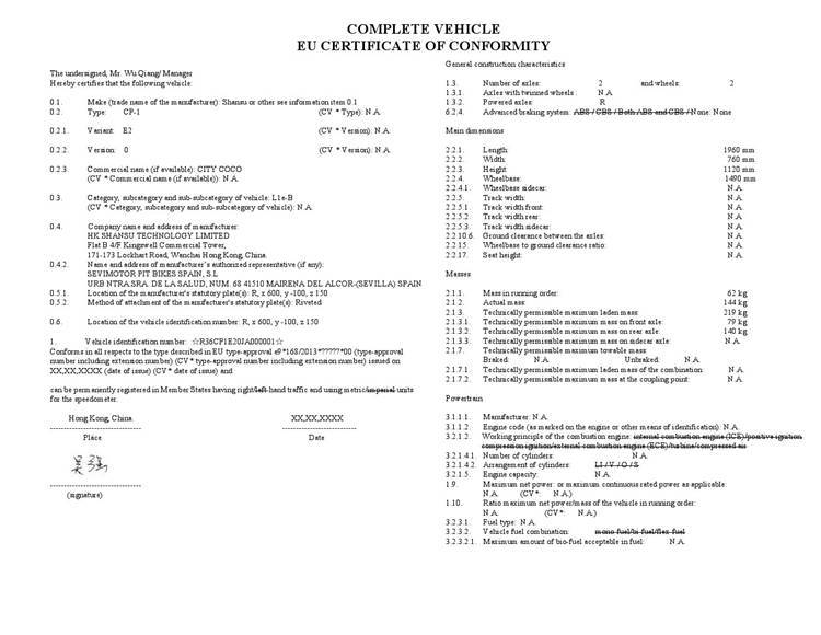 complete vehicle eu certificate of conformity rooder citycoco harley electric scooter (1)