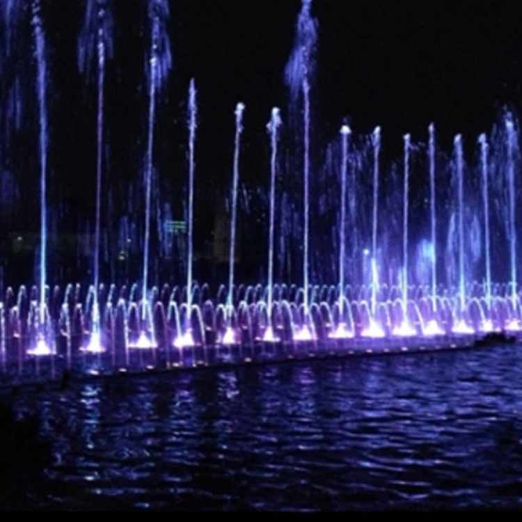 Outdoor stainless steel colorful led light features and dancing musical water fountains