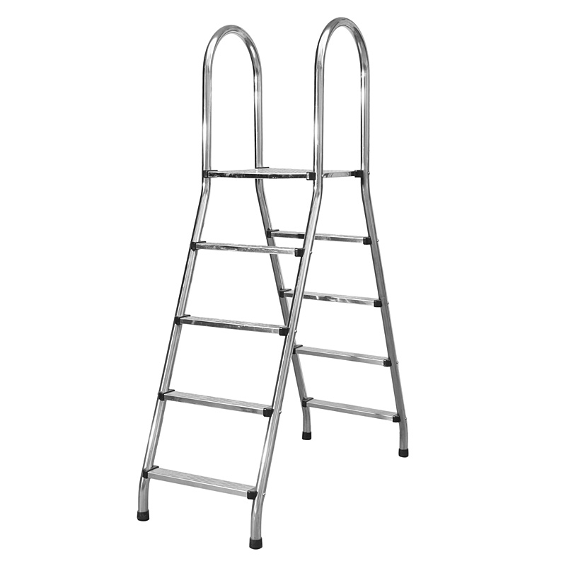 Factory price stainless steel two – five step above ground pool ladder with handle