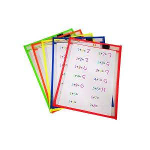 Clear Reusable Sheet Protectors Assorted Colors Dry Erase Pockets with Custom Packaging Box and Metal Ring for Children