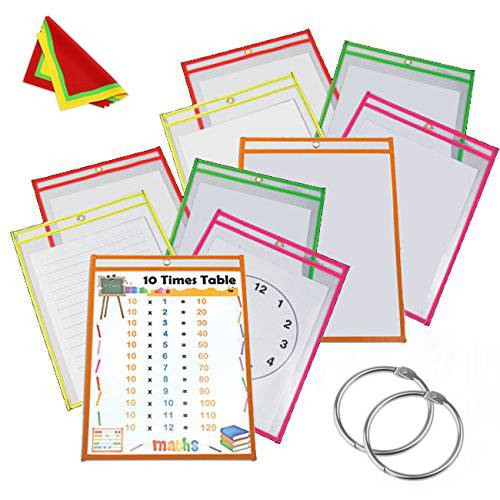 Heavy Duty Dry Erase Pockets Reusable Multicolored Sleeves Top Quality Supplies for Your Office School Classroom and Children