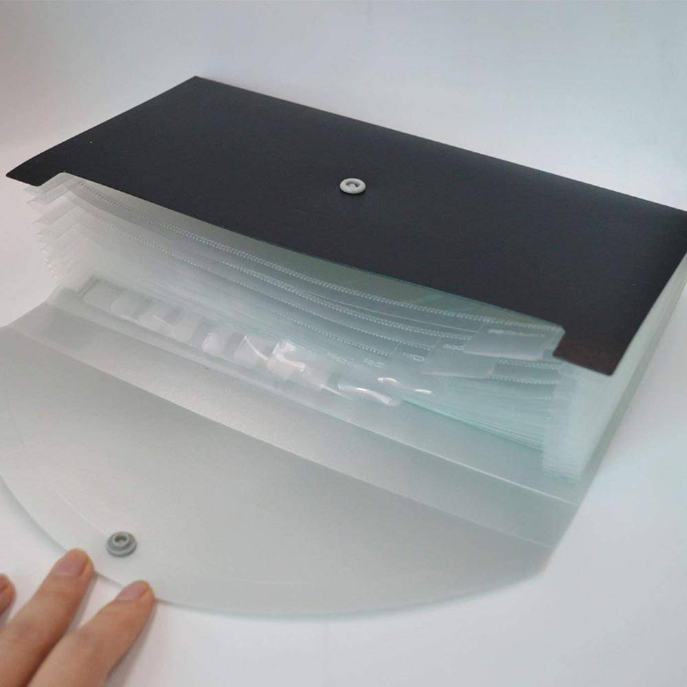 Wholesale two tone pp accordion folder clear plastic expanding files with front button