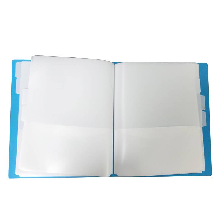 China supplier wholesale custom printing and design A4 display folder book with 8 inner pockets and tabs