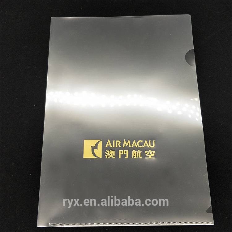 Factory Promotional PP Expanding File folders - logo customized l shape file folder a4 size clear pp folder – Ruiyinxiang