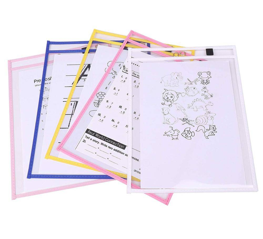 Heavy Duty Dry Erase Pockets Reusable Multicolored Sleeves Top Quality Supplies for Your Office, School, Classroom, Children