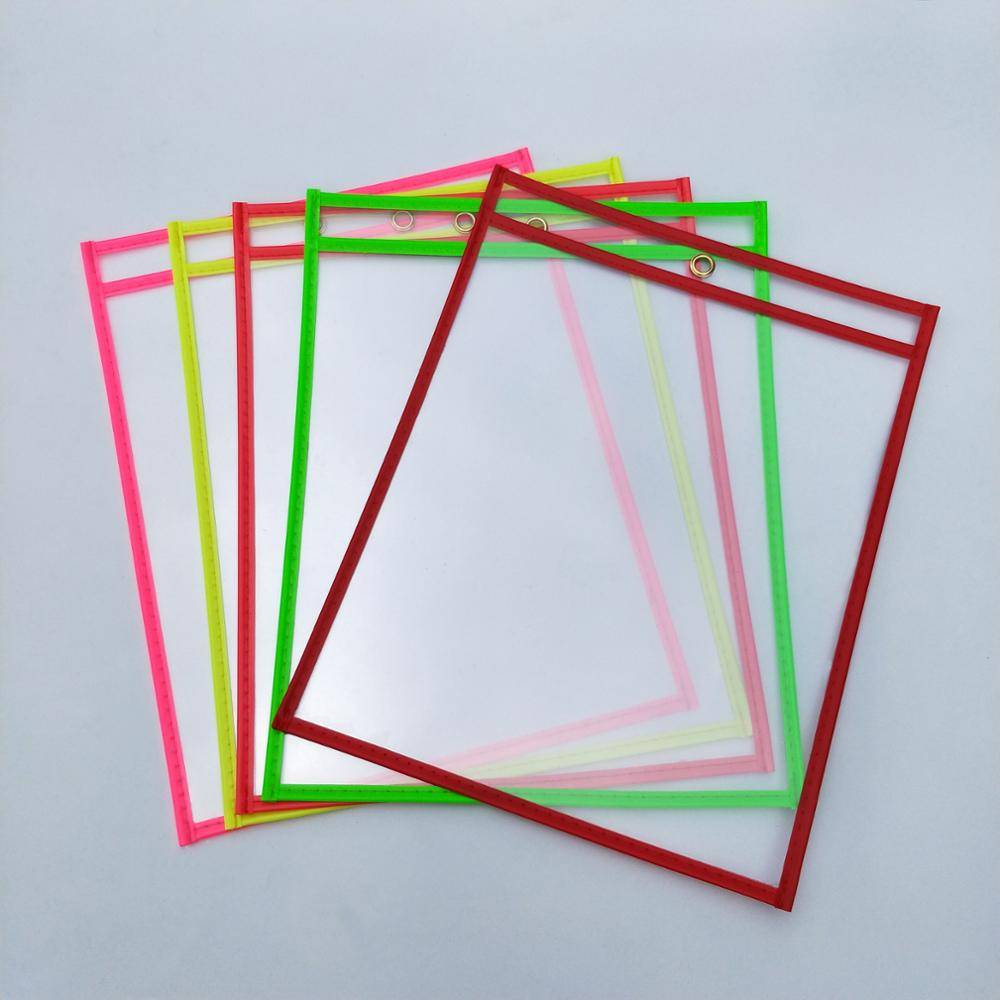 Fixed Competitive Price A4/A5/A3/B5 Size Sliding Bar Report Covers - PVC Reusable Dry Erase Pockets 10 x 13.5 Inches With Assorted Neon Colors – Ruiyinxiang detail pictures