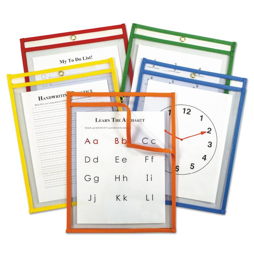 Reusable PVC Dry Erase Pocket With Assorted Colors For Office And School