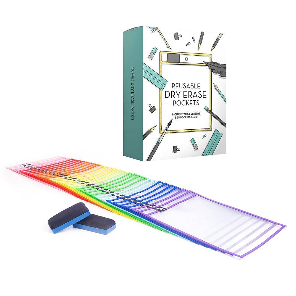 Custom Logo and Printing Dry Erase Pockets Learning Resources Write And Wipe Pockets