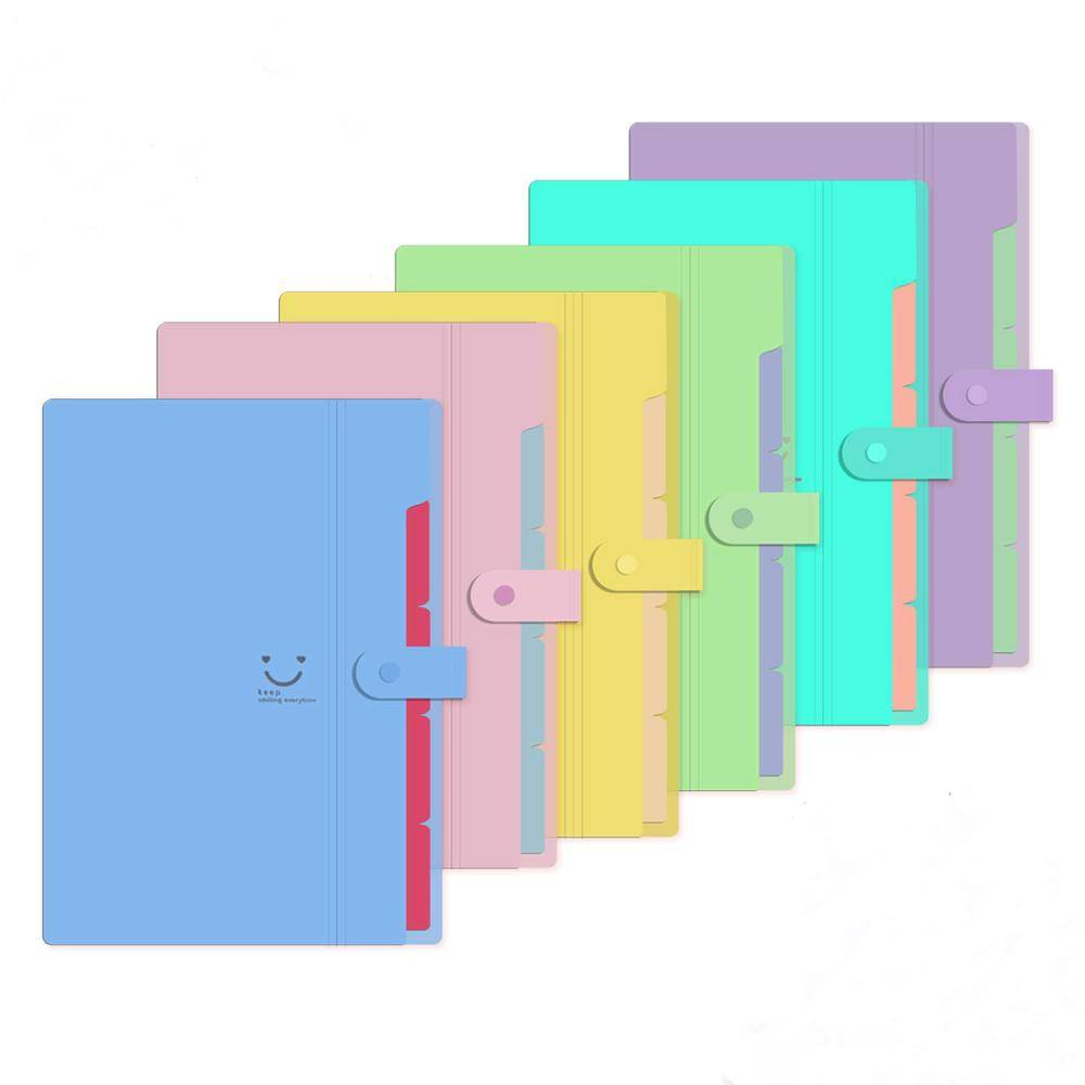A4 Letter Size Plastic Expanding File Folder 5 Pocket Accordion Document Organizer for School Office Business Use Featured Image