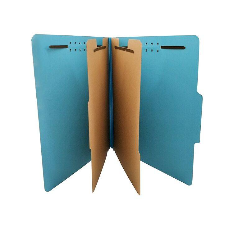 China Wholesale  Pressboard Classification File Folder with 6 Fasteners 2 Dividers for Office Project