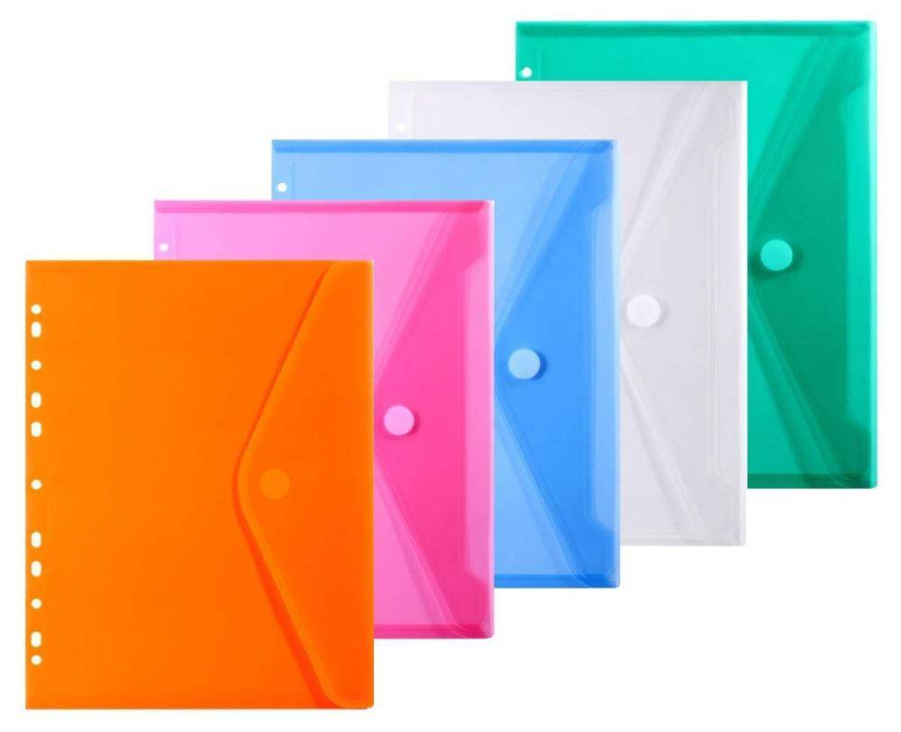 Low MOQ for PVC File Bag - Letter Size 11 Hole Poly Binder Envelope Pockets Insert Pages with Hook and Loop Closure Assorted Colors – Ruiyinxiang