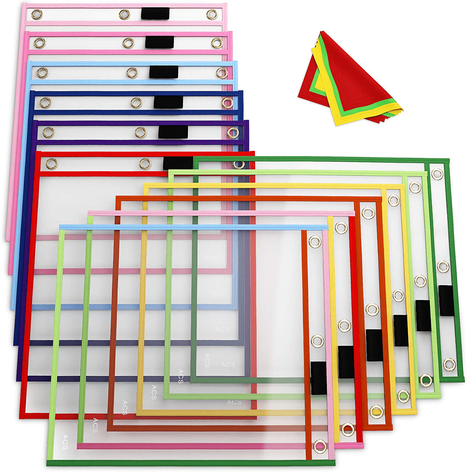 dry erase pockets sleeves with three hole hanger