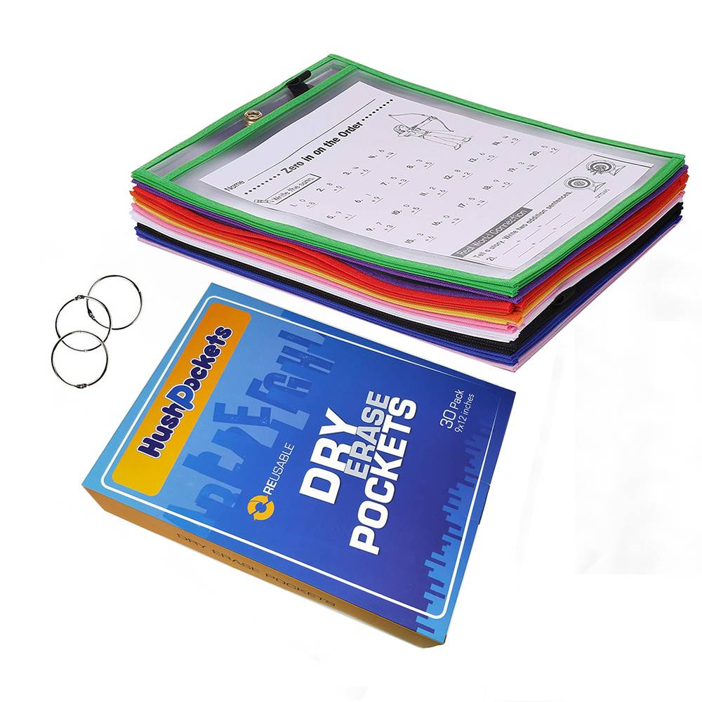 "10"" x 13"" Dry Erase Pockets Oversized Reusable Sheet Protector for School, Classroom and Office"