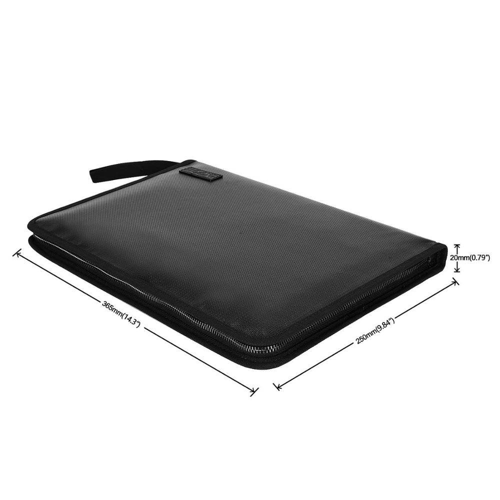 Fireproof File Folder and Water Resistant Money Document Bag Zipper Closure Non-Itchy Silicone Coated Portable Filing Organizer
