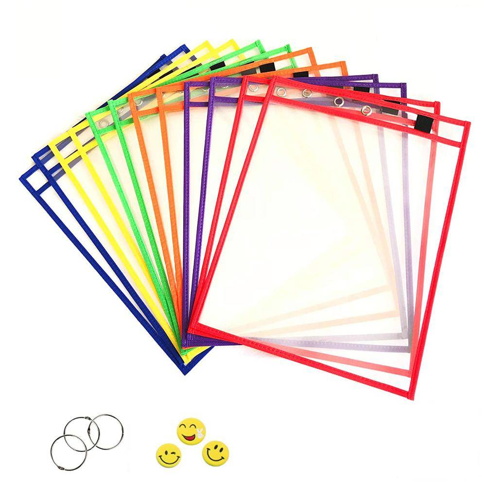 PVC Reusable Dry Erase Pockets 10 x 13.5 Inches With Assorted Neon Colors