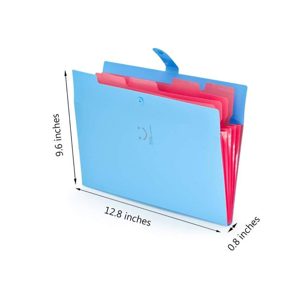 A4 Letter Size Plastic Expanding File Folder 5 Pocket Accordion Document Organizer for School Office Business Use