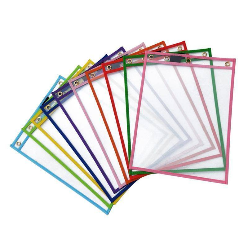 "Custom Reusable Dry Erase Pockets 9""X12"" 30pcs per pack,  Assorted Primary Colors"