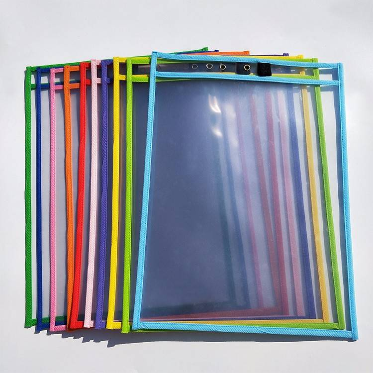 Custom reusable 10×13 inches dry erase pocket sleeves 30 packs with markers for child and teaching