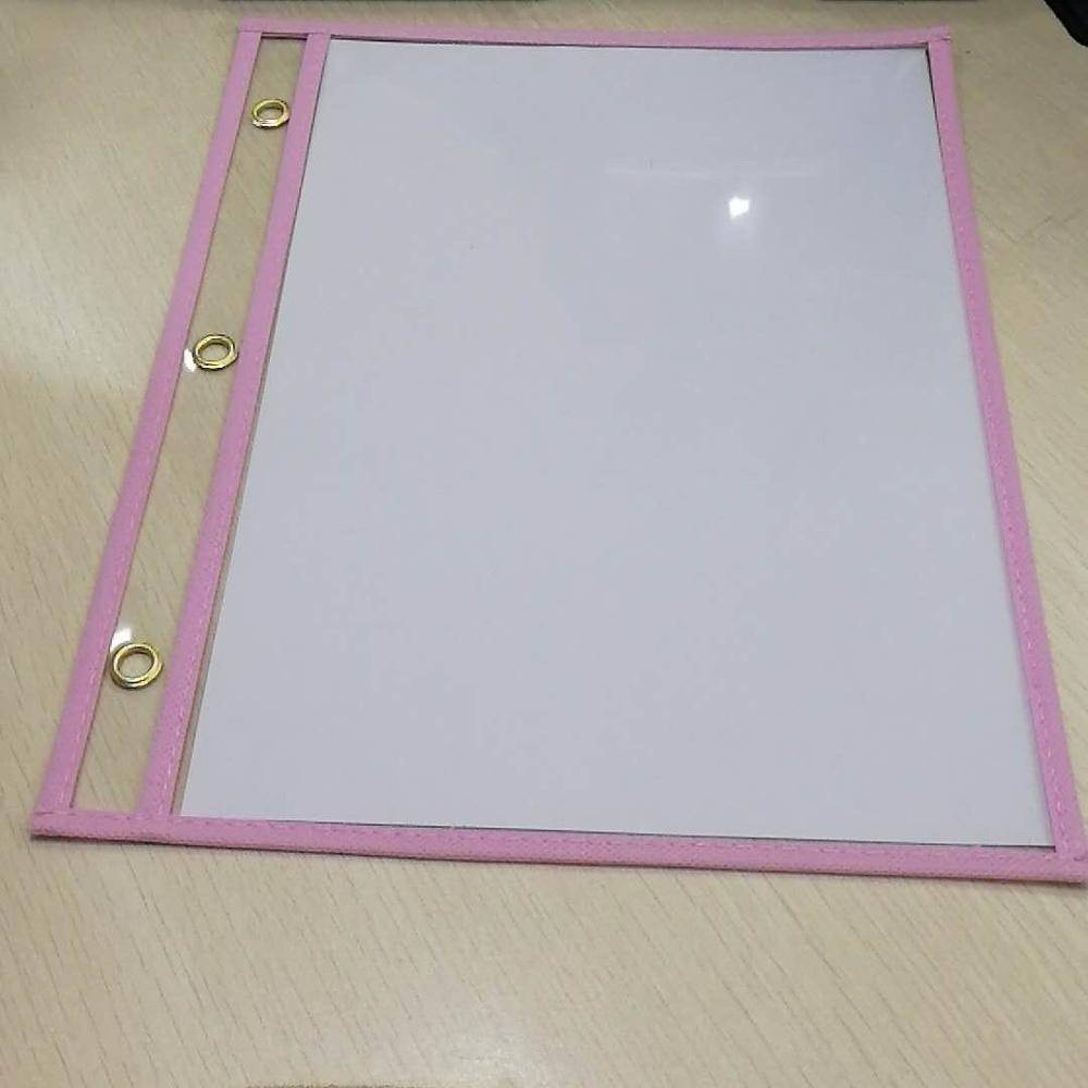 "10"" x 14"" Reusable Clear Assorted Colors  Dry Erase Pockets"