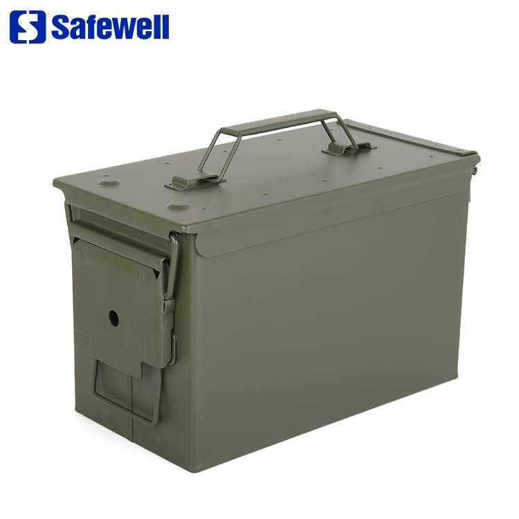 Safewell Army Green Military Style 50 Cal M2A1 m19a1 Metal Waterproof Fireproof Ammo Box