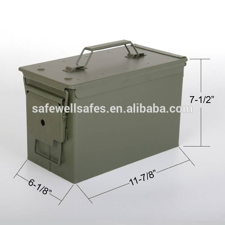 Safewell Army green .military style 50 Cal Metal Ammo box