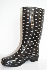 Good quality printed pvc rubber safety shoe lining material women rubber wellington gumboots