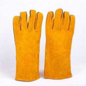 Industrial work hand  cow split  leather construction safety glove en388