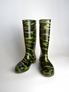 Man Green camouflage natural rubber PVC gumboots rubbers shoes for men