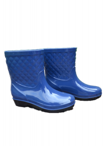 Hot sell pure blue pvc gumboots rain boots  plastic smoothly gumboots women  boots rain